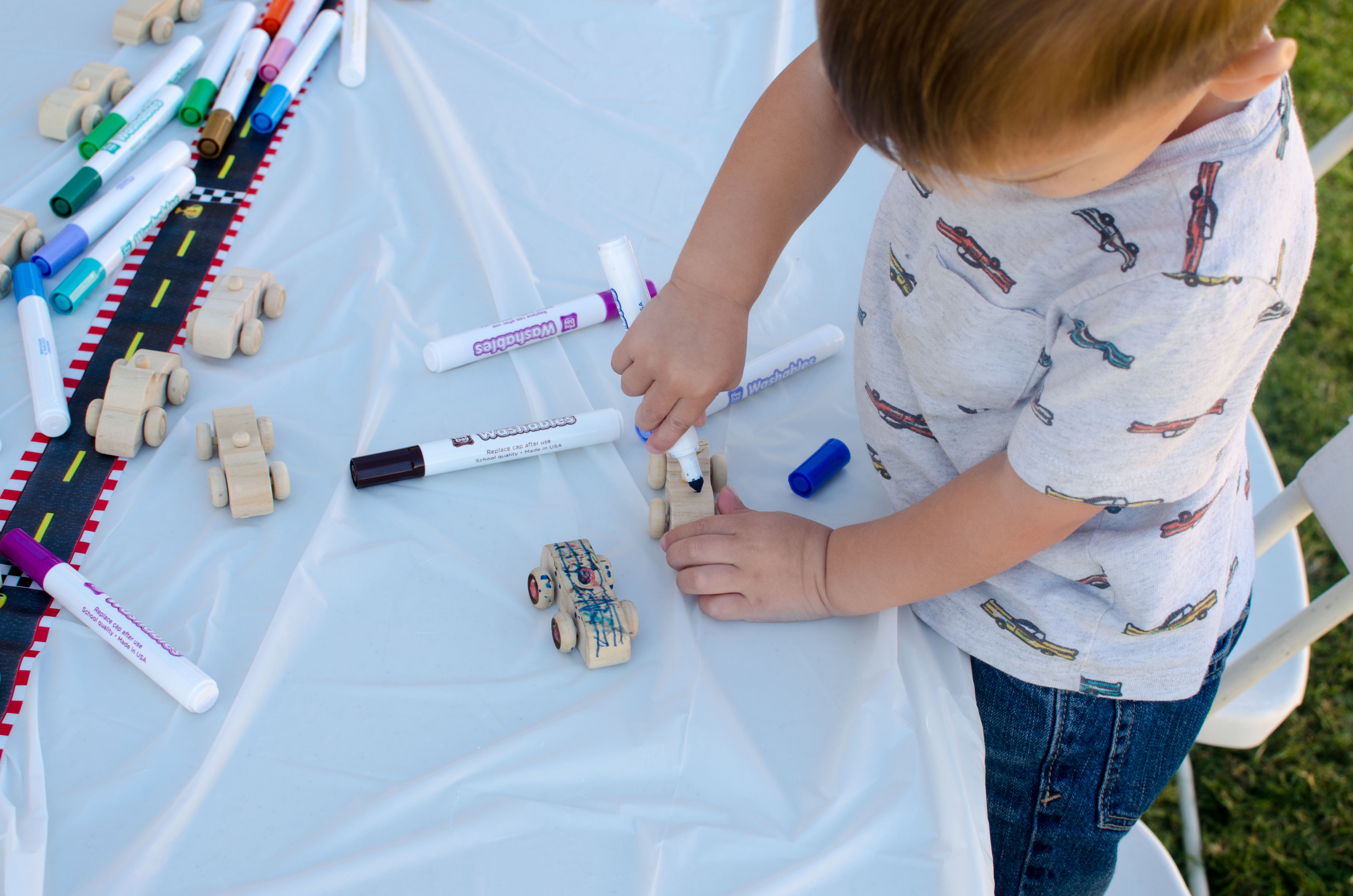 Decorate your own race car toddler themed birthday party